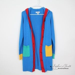 Othermix Color Block Cardigan Hood Sweater